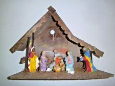 Vintage Creche Manger ITALY lighted|attached composite figurines