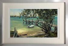 """""""Key's Whaler"""" by Tripp Harrison (Large Framed Art Boat Dock Beach Island)"""