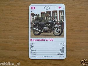 10-MOTOREN 1D KAWASAKI Z1000 KWARTET KAART MOTORCYCLES, QUARTETT,SPIELKARTE
