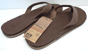 REEF Men's McClurg Flip-Flop Sandal*Dark Brown*Leather Strap/Cotton Sz 8