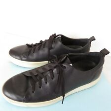 Ecco Danish Design Size 44-Extra Width/US 10 Black Leather Sneakers Lace Up Shoe