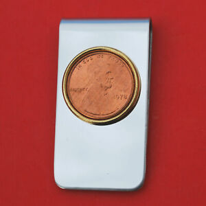US 1978 Lincoln Penny Coin Stainless Steel Money Clip New