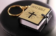 Real Miniature Holy Bible Key Ring/Chain w/Free Jewelry Box and Shipping