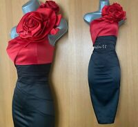 Karen Millen UK 10 Black Red Rose Corsage One Shoulder Wiggle Cocktail Dress 38