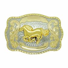 Running Horse Western Cowboy Rodeo Gold Large Belt Buckle