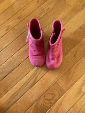 Jumping Beans hot pink zip up ankle boots little girl size 9 M faux suede
