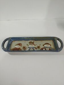 "St. Nicholas Square FOREST FRIENDS  Handled Stoneware Tray Snowmen 15"" by 4.5""."