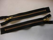 YKK Reißverschluss von 20-40 cm 8 mm metall  schwarz braun 1 Weg unteilbar