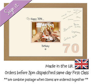70th Birthday Signing Guest Photo Frame Gift 7x5 Photo by Photos in a Word 684D