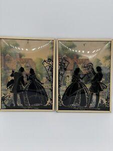 "2 VINTAGE REVERSE PAINTED SILHOUETTE PICTURES W/CONVEX BUBBLE GLASS 6"" X 8"""