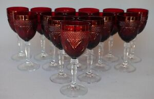 """Set of 14 Wine Water Glass Luminarc Cristal D'Arques Durand """"Antique Ruby"""" Red"""