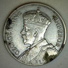 1933 New Zealand 1 Shilling YG Silver KM#3 Maori Warrior George V #R