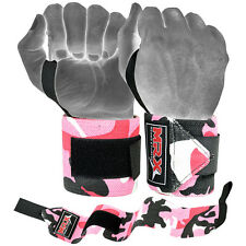MRX Weight Lifting Training Wraps Wrist Support Gym Fitness Bandage Camo Pink