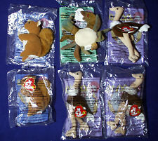 6 TY BEANIE BABIES McDonalds's Happy Meal Toys STRETCHY OSTRICH Claude NUTS 1999
