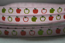 """10mm (3/8"""") BABY PINK with RED GREEN APPLES grosgrain ribbon 3mtrs for crafts"""