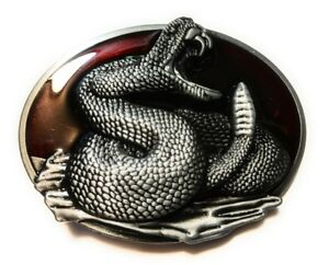 Snake coiled Rattle Snake midsized Belt buckle Blood red Back ground Full Metal