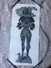 RARE VINTAGE BRITISH BRASS RUBBING PRINT OF KNIGHT,  LONDON, 1966