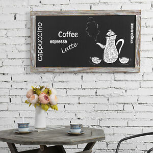 MyGift 35 x 19 Inch Wall Mounted Whitewashed Wood Framed Chalkboard Hanging Sign