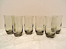 6 Gray Juice Glass Tumblers Libbey Mid-century Modern Mad Men Cocktail Bar vtg