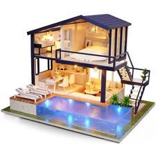 DIY Dollhouse Miniature Time Apartment House Furniture LED Light Creative Gift