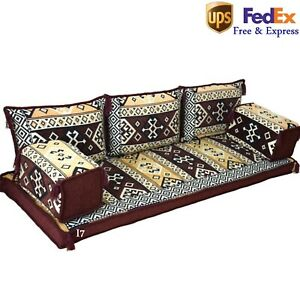 Arabic Sofa Oriental Home Decor  Floor Cushions Seating Turkish Set Brown FOAM