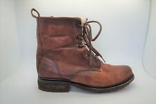 FRYE Brown Leather Lace Up Lined Ankle Combat Lug Boots Shoes Sz 8.5 EUC