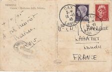 Italy WW2 RARE! Venezia postcard censored 1945! to Labatut .cancel DAX France
