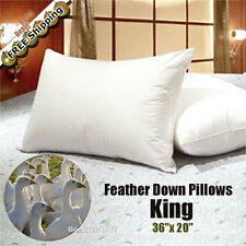 100% White Goose Feather Down Pillow 95/5 Medium-Fill Pillows, King - Set of 2