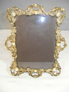 Lovely Vintage  Antique Brass Finished Picture Frame w/Pearl Accents