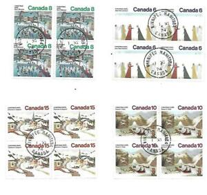 Canada Christmas Blocks of 4 Cancelled