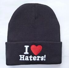 I LOVE HATERS BEANIE HAT (BLACK WITH WHITE LOGO) Free Shipping USA