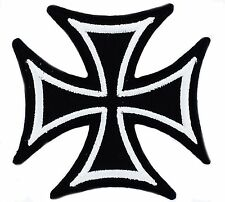 maltese cross BIKER PATCHES PATCH IRON ON GLUE EMBROIDED