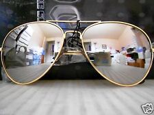 Mirrored Aviator Sunglasses Silver Mirror Lenses Gold Metal Frame