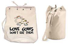 Love Mucche non mangiano THEM Borsone Vegetarian Vegan Vegetariano College Zaino da palestra