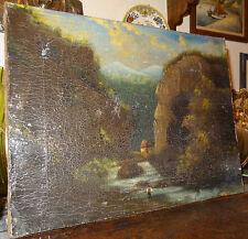 peinture toile HST barbizon personnage rivière montagne