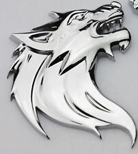 3D Metall Wolf Wolfkopf Chrom Logo Sticker Emblem Badge Aufkleber PKW KFZ Auto