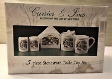 Currier & Ives 5 Piece Stoneware Table Top Set American Homestead Winter