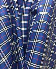 "Royal Blue Plaid Tartan Cotton 44""W Fabric KILT SKIRT DRAPE TABLECLOTH BTY"