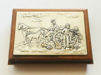 Vintage Rare Repousse Wooden Box Scenic Art Signed Gerry -- Sterling Silver 925