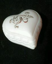 Vintage Avon White Heart Gold Doves on Lid Glass Container Cream Sachet