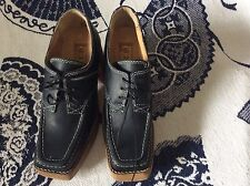 Colony Ladies Black Leather Shoes W/ Block Faux Wood Heels Size 7 NWOB