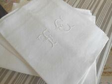 6 anciennes serviettes damassé lin soie 70x80cm monogramme TC
