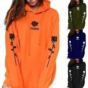 Womens Rose Printed Hoodies Ladies Hooded Sweatshirt Jumper Pullover Blouse Tops