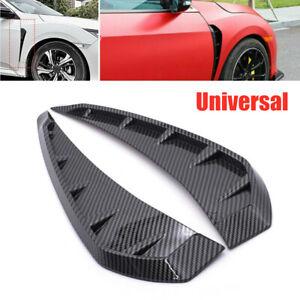 Universal Carbon Fiber Car Side Door Fender Vent Air Wing Cover Trim ABS Plastic