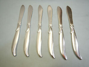 6 FLAIR BUTTER SPREADERS-UNIQUE MID CENTURY 1956 ROGERS DESIGN