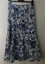 ORVIS 100% LINEN SKIRT NAVY WHITE FLORAL SIZE 8 GREAT CONDITION