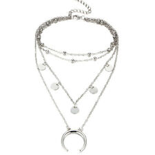 Charms Multilayer Necklace Silver Crescent Moon Hippy Boho Choker Chain Pendant