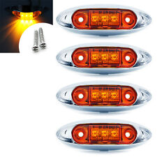 4x Amber 3 LED Front Side Marker Light Indicator Lamp Bezel Van Truck Trailer