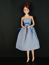 Blue and White Striped Strapless Dress Made to Fit Barbie Doll