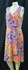 RLL Ralph Lauren slinky jersey Dress ruched mock wrap multi sundress Size L NEW